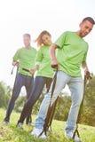 Exercice pour la coordination et teambuilding photographie stock