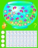 Exercice pour les enfants en bas âge Devez compter les habitants d'aquarium, peignez le nombre de correspondance de eux et écrive illustration stock