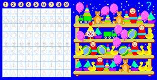 Exercice pour les enfants en bas âge Devez compter la quantité de jouets et peindre le nombre de correspondance de eux Images stock
