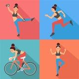 Exercices de femme de forme physique illustration libre de droits