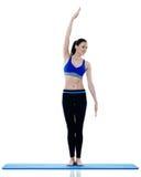 Exercices de los pilates de la aptitud de la mujer aislados Fotografía de archivo