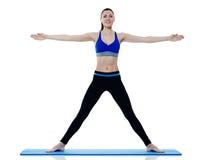 Exercices de los pilates de la aptitud de la mujer aislados Imagen de archivo