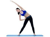 Exercices dei pilates di forma fisica della donna isolati Fotografie Stock Libere da Diritti