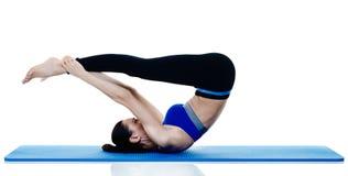 Exercices dei pilates di forma fisica della donna isolati Fotografia Stock Libera da Diritti