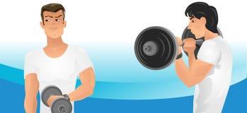 Exercices faisants pour deux hommes Images stock