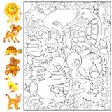 Exercices pour les enfants en bas âge - les besoins de trouver et peindre les animaux Image stock