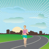 Exercise. Vector illustration of attractive healthy living woman jogging early morning Stock Photography