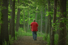 Exercise. Man walking in woods Stock Photography