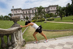 Exercise. Women streching in the park royalty free stock photography