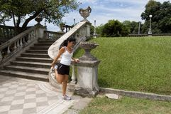 Exercise. Women streching royalty free stock photo