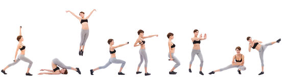 Exercise. Beautiful woman doing fitness exercise on white, space for messages Stock Photography