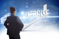 Exercise against steps leading to closed door in the sky Stock Photography