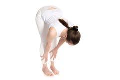 Exercise Ardha Uttanasana. Sporty beautiful young woman in white sportswear doing half Forward Bending exercise for spine flexibility, Uttanasana Pose easy Stock Image