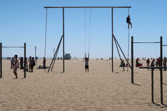 Free Exercise At Santa Monica Beach Stock Images - 93610904