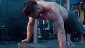 Exercise for balance and strength. Bodybuilding workout stock video