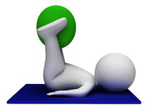 Exercise Ball Represents Get Fit And Exercised 3d Rendering Royalty Free Stock Images