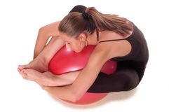 Exercise ball rollout stock images