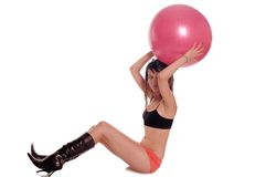 Exercise ball rollout Royalty Free Stock Photo