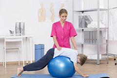 Exercise ball workout Royalty Free Stock Photography