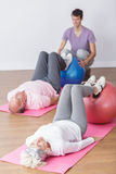 Exercise with ball Royalty Free Stock Image