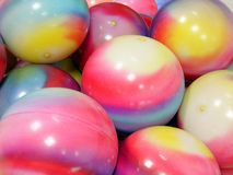 Exercise balls. Pile of colorful exercise balls Stock Photography