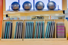 Exercise balls and aerobic steps in gym. Silver exercise balls as well as aerobic steps, neatly organized, as might be found in a nice gym, club or fitness Royalty Free Stock Photo