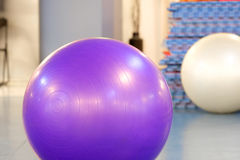 Exercise balls. In fitness center Royalty Free Stock Photography