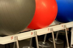 Exercise Balls and Gym Weights Royalty Free Stock Images