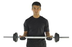 Exercise with barbell Stock Photo