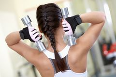 Exercise with barbells Stock Photography