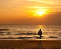 Exercise on the beach. A man exercise on the beach Stock Photos
