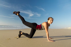 Exercise at the beach Royalty Free Stock Photos