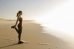 Exercise at the beach Royalty Free Stock Photo