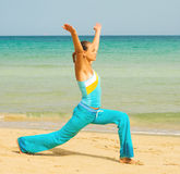 Exercise on a beach on a sunny day Stock Image