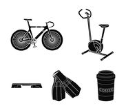 Exercise bike, bicycle, fins for swimming, fitness bench. Sport set collection icons in black style vector symbol stock. Illustration Royalty Free Stock Photography