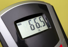 Exercise bike display. Shows the calories burned Royalty Free Stock Images