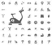 Exercise bike icon. Sport illustration vector set icons. Set of 48 sport icons. Exercise bike icon. Sport illustration vector set icons. Set of 48 sport icons Royalty Free Stock Photos