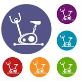 Exercise bike icons set. In flat circle reb, blue and green color for web Stock Photo