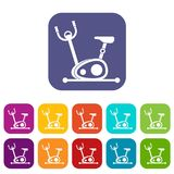 Exercise bike icons set. Vector illustration in flat style in colors red, blue, green, and other Royalty Free Stock Image