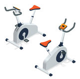 Exercise bike isolated on white background. Exercise bike icon. Flat 3d isometric vector illustration. Stock Images
