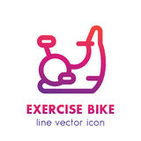 Exercise bike line icon isolated over white Royalty Free Stock Images