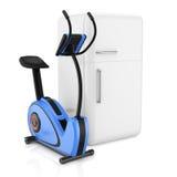 Exercise bike and  refrigerator Lizenzfreie Stockfotos