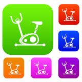 Exercise bike set collection. Exercise bike set icon in different colors isolated vector illustration. Premium collection Royalty Free Stock Photos