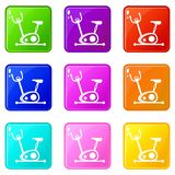 Exercise bike set 9. Exercise bike icons of 9 color set isolated vector illustration Royalty Free Stock Photos