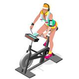 Exercise Bike Spinning Fitness Class.3D Flat Isometric Spinning Fitness Bike. Gym Class Working Out Cycling Indoor Exercise Bike Stock Photo