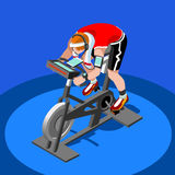 Exercise Bike Spinning Fitness Class.3D Flat Isometric Spinning Fitness Bike. Royalty Free Stock Images