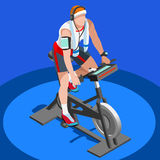 Exercise Bike Spinning Fitness Class.3D Flat Isometric Spinning Fitness Bike. Stock Images