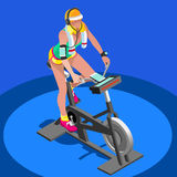 Exercise Bike Spinning Fitness Class.3D Flat Isometric Spinning Fitness Bike. Stock Photo