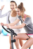 Exercise bike training Royalty Free Stock Photo