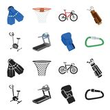 Exercise bike, treadmill, glove boxer, lock. Sport set collection icons in black,cartoon style vector symbol stock. Illustration Royalty Free Stock Photos